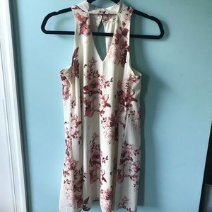 ivory v cutout dress with pink flowers